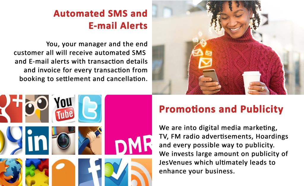 Automated SMS and Email Alerts, Promotions and Publicity