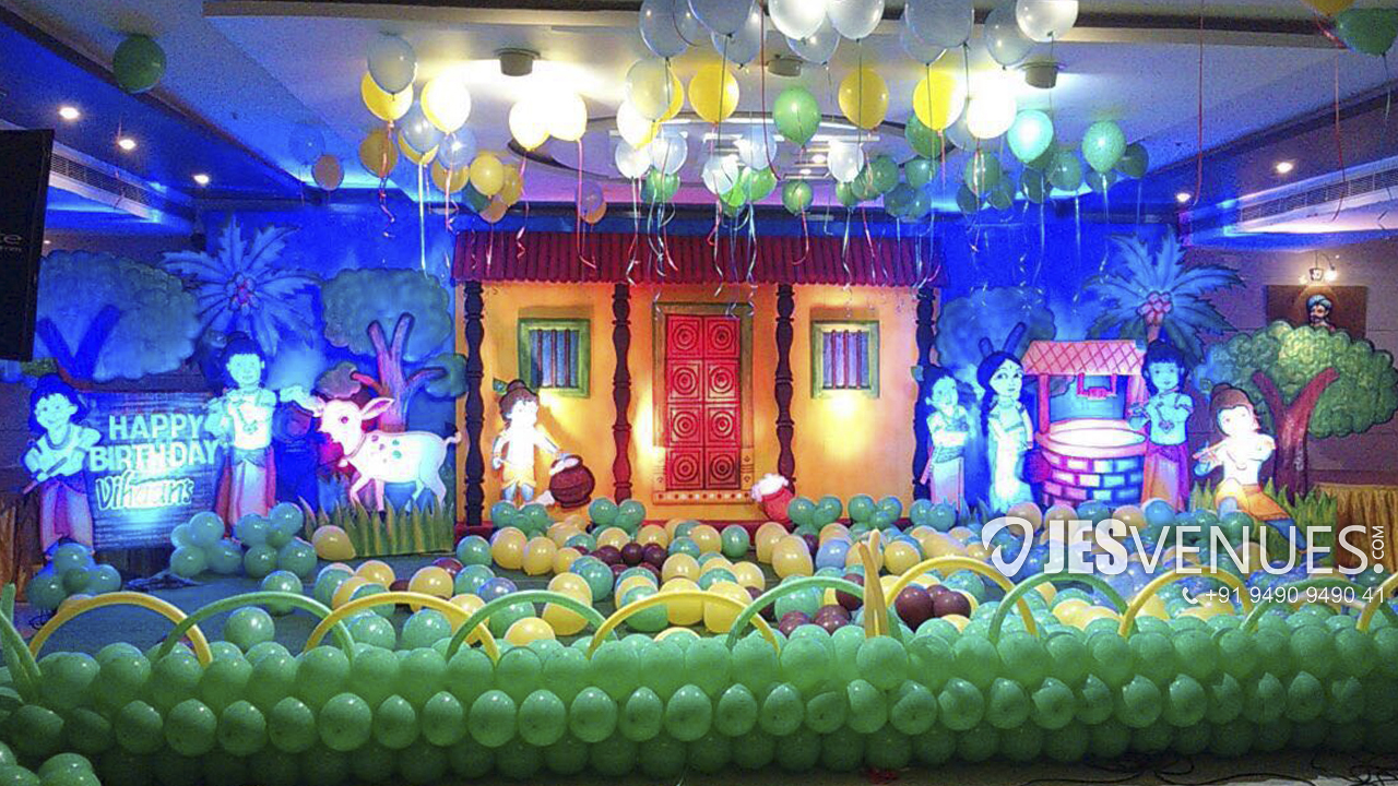 Little Krishna Theme Decoration For Birthday Or Kids Party - Hyderabad